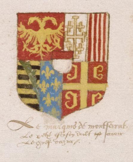 Герб Монферратской ветви Палеологов из «Универсального гербовника» (около 1558).
