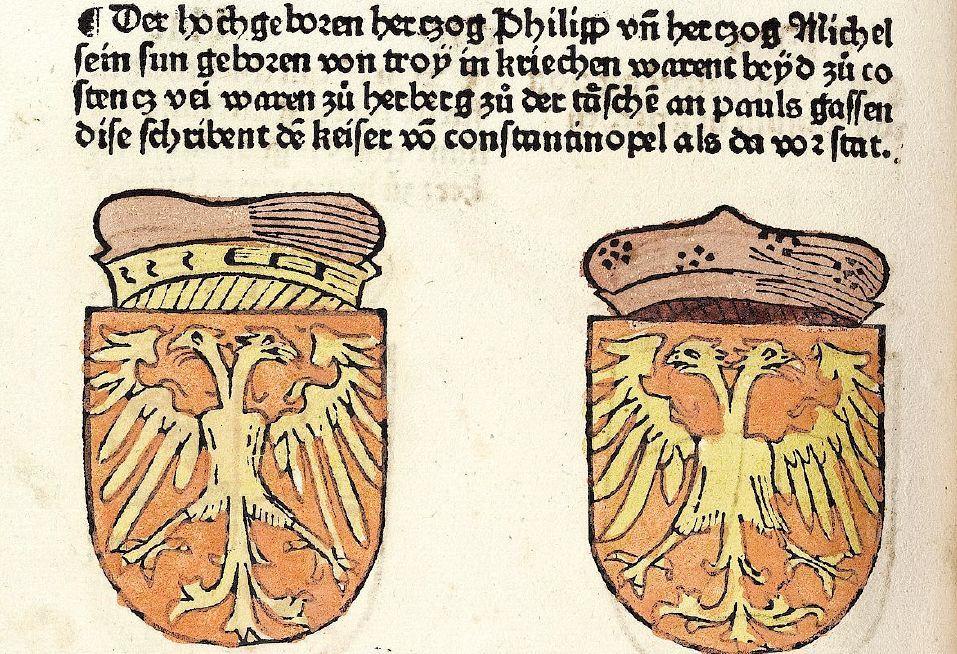 Гербы греческих герцогов Филиппа и Михаила фон Тропе из хроники Констанцского собора Ульриха Рихенталя.