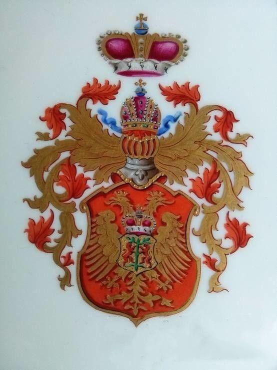 Герб Кантакузенов на фарфоровой тарелке.