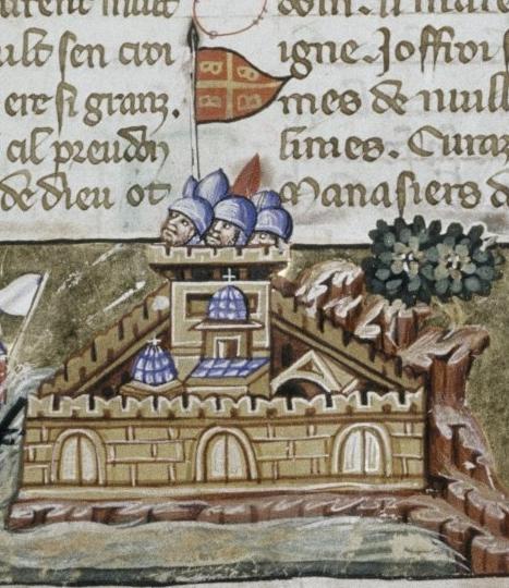 Императорский штандарт с тетрабазилеоном над Константинополем. Миниатюра к «Завоеванию Константинополя» Виллардуэна.