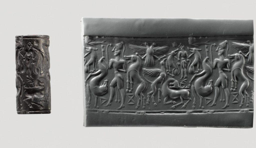 Цилиндрическая печать XIV вв. до н.э. из Metropolitan Museum of Art.