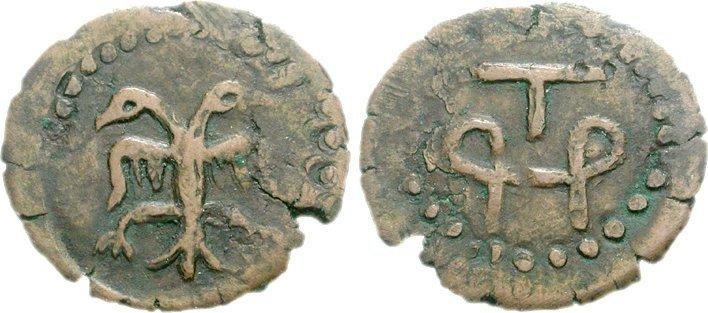 Медная монета добруджанского деспота Тертера.
