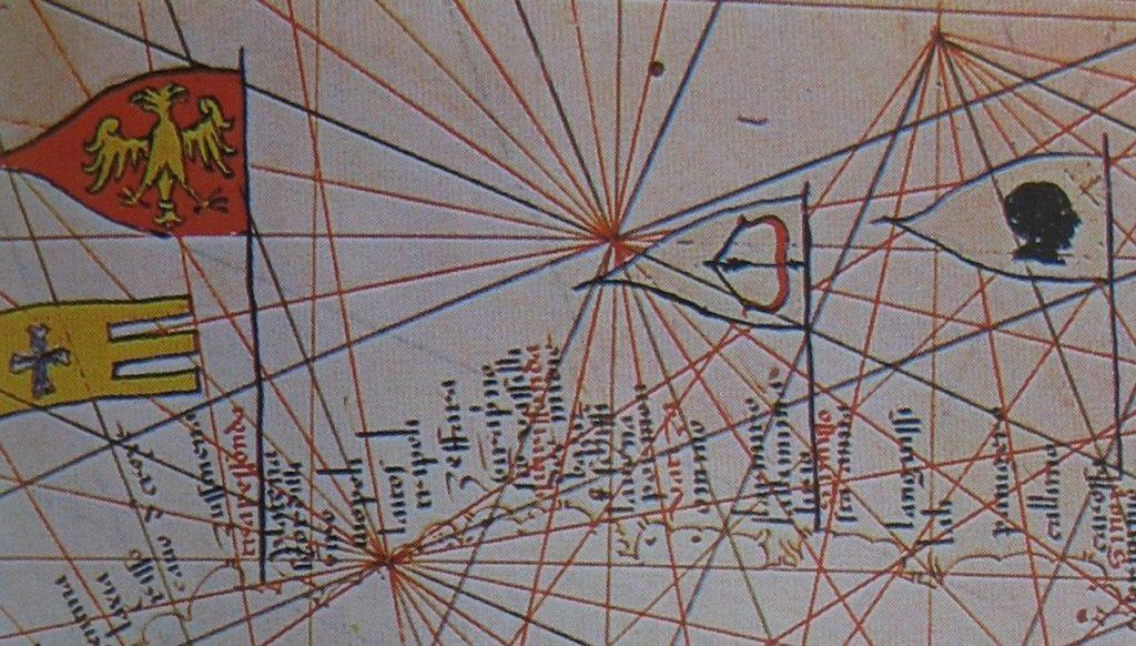 Флаг Трапезунда на портолане Петра Весконте (1320/21).