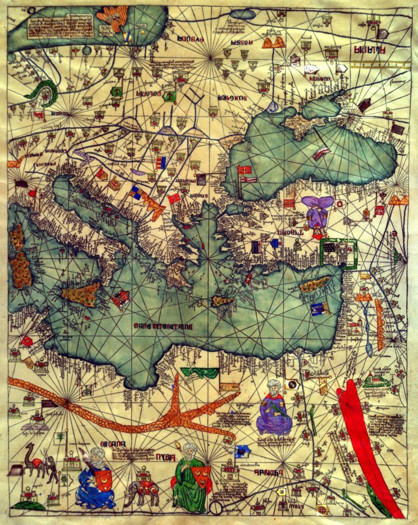 Черноморский регион и Малая Азия с флагами государств. Каталанский атлас Абрахама Креска (1375).