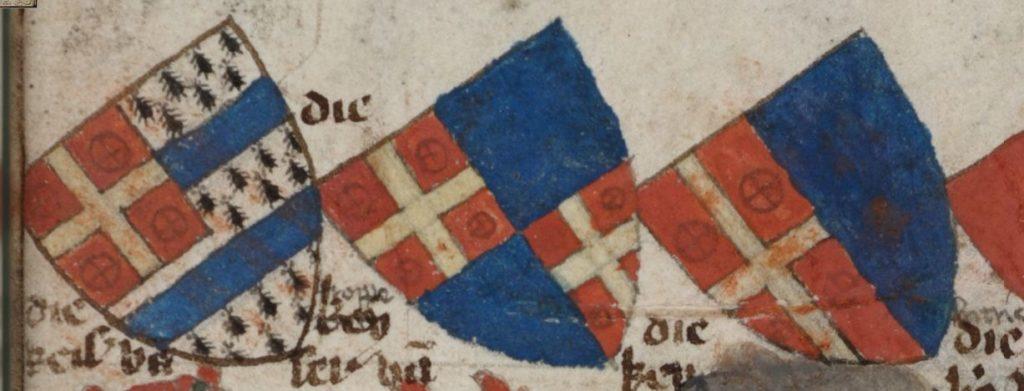 Гербы королей Трапезунда, Видина и Витрича из Гельдернского гербовника.