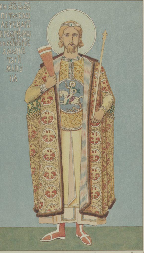 Мануил I Великий Комнин. Фреска из храма св. Софии в Трапезунде.