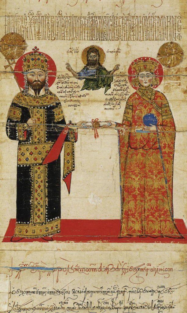 Император Алексей III Великий Комнин и императрица Феодора.