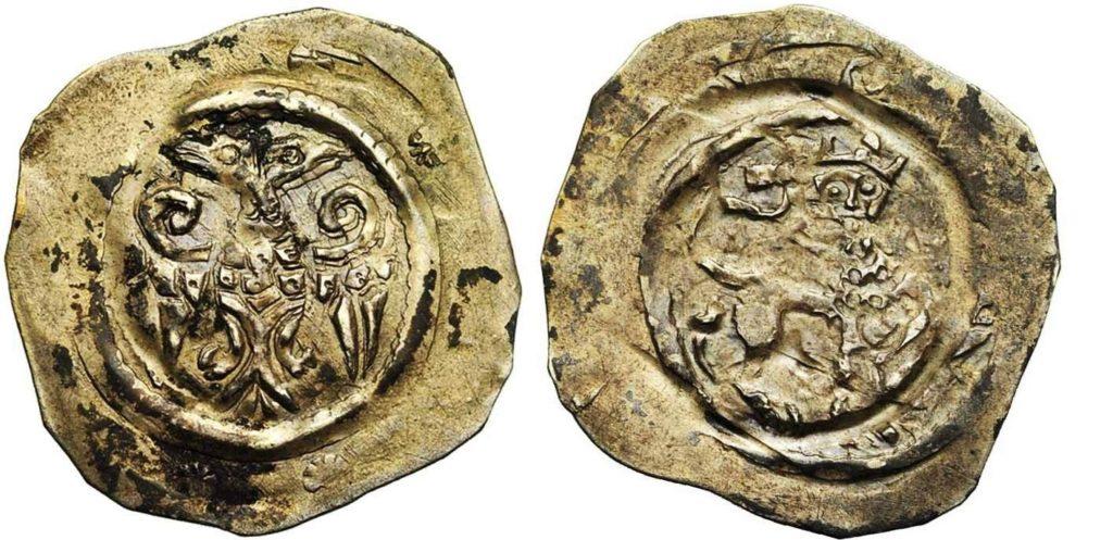 Серебряный пфенниг Леопольда V, герцога Австрийского.