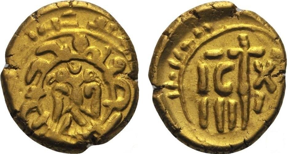 Золотой тарис, отчеканенный в Палермо (1197-1209).