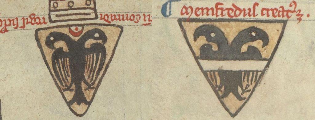 Гербы сыновей Фридриха II: Конрада IV и Манфреда.