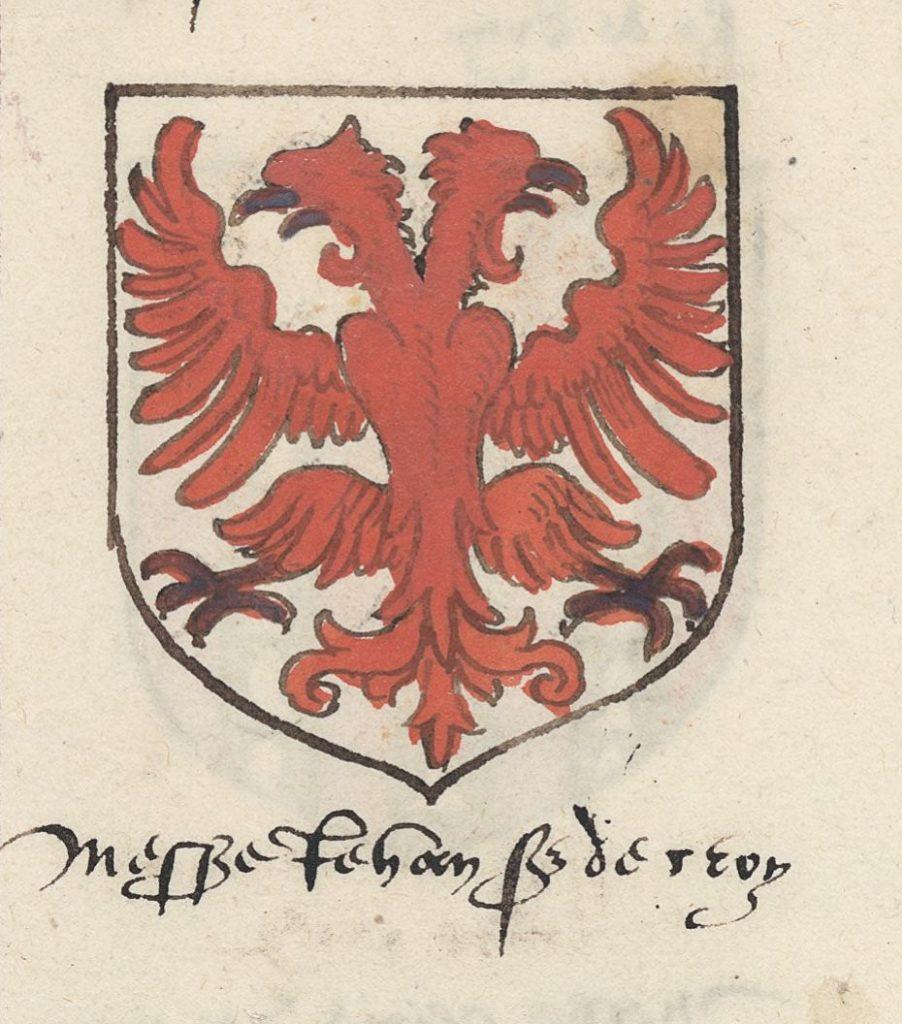 Герб маршала Жана II ле Менгр Бусико (1366-1421) согласно гербовнику XVI века.