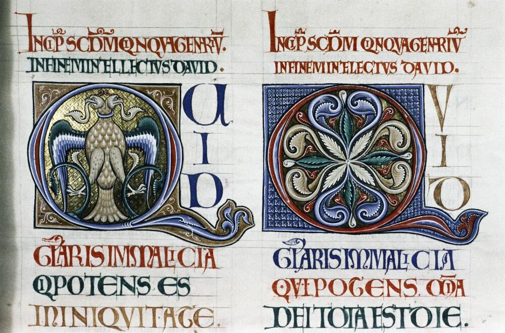 Инициал Q в виде двуглавого орла к Псалму 51.